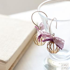 Romantic cages earrings with pink a..