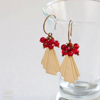 Art Deco Earrings Vintage raw brass triangle fan and cherry red glass beads - glass jewelry - chandelier earrings - drop earrings - dangle